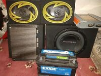 Car premium sound system with wiring and battery