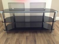 Glass TV unit & Coffee table with storage baskets