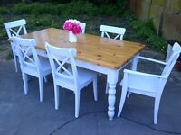 FARMHOUSE TABLE AND SIX CHAIRS REALLY THICK TOP VERY HEAVY WITH DRAWER SHABBY CHIC app 6ft x 3ft