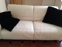 Genuine off white leather sofa