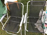 Black mesh folding garden chairs