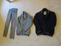 Mens Quality Clothing - Ralph Lauren Jeans 30w 32l & 2 X Burton Italian Cable Chunky Knit Cardigans