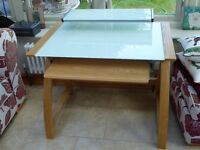 Glass Top and Oak Computer Desk/Table, £50.00