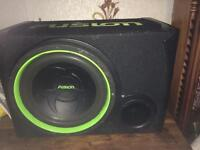 "12"" fusion subwoofer and 1000watt amp"
