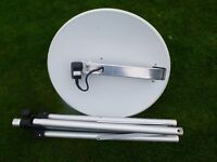 caravan satellite dish with stand.