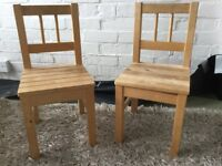 Pair of wooden children's chairs