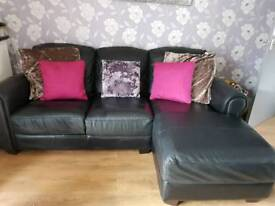 3 seater quality leather chaise sofa and chair