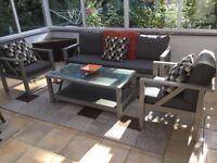 Garden/patio/conservatory furniture set. Three seater sofa, two chairs plus table. Aluminium.