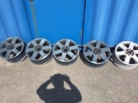 "AUDI A4 2004 17 "" ALLOY WHEELS WITH CENTRES GOOD COND"