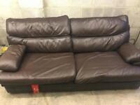 G Plan leather 3 seater sofa.