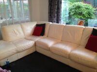 White Italian leather corner sofa