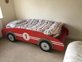 Child car bed plus John Lewis mattress