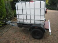 Trailer with 600 litre tank,galvanized chassis,brakes,spare wheel,jockey wheel,road lights