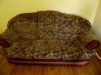 Used Large Three Seater Sofa + 2 Armchairs Brown with Floral Pattern