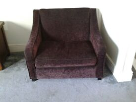 Chair bed. Large armchair with pull-out metal-frame bed (like a sofa bed, but with single bed)