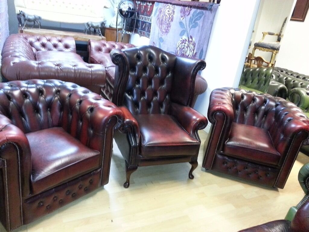 beautiful 3 piece set ox blood leather chesterfield.2 club ...