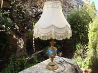 Beautifully Ornate Brass and Ceramic Table Lamp and Shade.