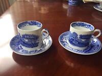 Set of 2 coffee cafetière cups. Italian blue Copeland Spode