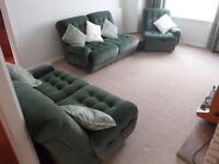 Green Sofa and corner unit - splits into 5 pieces / Must go by 28th August