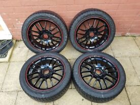 """4x Excellent Condition 17"""" Alloys with Nearly new Tyres (6 months old)"""