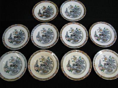 "1800's Set of 10 Rorstrand Swedish Ironstone 10"" Dinner Plates; ""Japan"" Pattern"