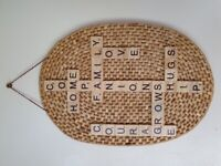 Rattan Oval Placemat Upcycled Wall Hanging Plaque Handmade Family Themed