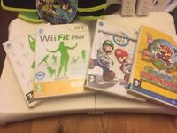 Nintendo Wii console, Board, 2 remotes, 2 steering wheels, 2 games and sumba belt and game