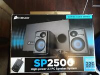 CORSAIR SP2500 HIGH POWERED SUBWOOFER SPEAKER SYSTEM 2.1 220WATTS
