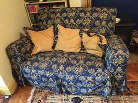 Antique blue and yellow sofa and chair - good strong pieces of furniture