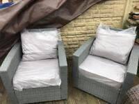 Outdoor Garden Conservatory rattan seats (2) grey - free delivery available