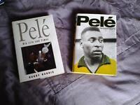2 Hardback books on a football icon. PELE.