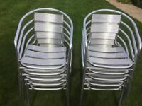 10 Bistro silver garden patio chairs