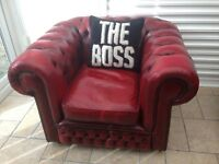 Stunning Chesterfield Oxblood Red Leather Low Back Club Chair - UK Delivery