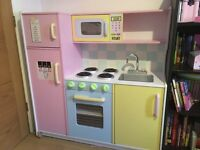 Childrens wooden play kitchen with accessories, 107 cm long, 108 cm high, 39 cm depth