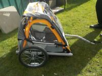Child's Double Bike Trailer in Good Working Order with all Attachments - Collect PE27