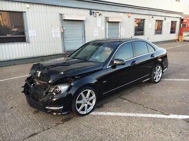 2012 62 MERCEDES-BENZ C220 AMG SPORT CDI AUTO BLACK UNRECORDED DAMAGED SALVAGE