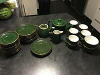 Complete Cromwell & Morgan Green Tea Set with Gold Trim