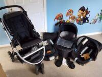 Mamas and papa's Zoom pushchair, carycot, car seat, isofix base, car seat adaptors and bag