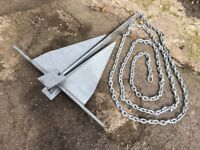 Boat Anchor Danforth 16Kg with chain NEW unused