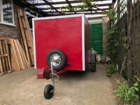 Steel frame box trailer, fully lined interior 8ft by 4ft