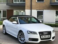 2010 AUDI A5 CABRIOLET/CONVERTIBLE WHTE 3.0 TDI S LINE AUTO LED RUNNING LIGHTS FACE LIFT IMMACULATE