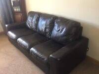 3 + 2 brown leather sofas