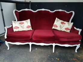 Victorian style beachwood french settee