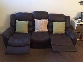 Faux leather RECLINING 3 seater sofa. Must go asap. Worth £600