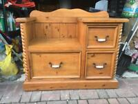 Large pine telephone table and storage