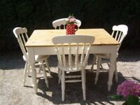 Victorian Kitchen Dining Table and Four Chairs