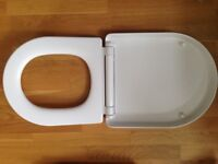 White D Shape Toilet Seat with Top Fixing Hinges-pick up London Victoria or Chatham