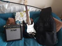 Fender Squier Bullet Stratocaster, Black Complete with 25 watt Cruiser Amp & Soft Guitar case
