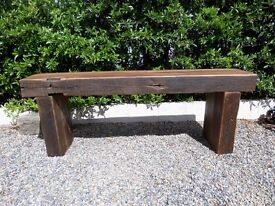 Stunning Pitch Pine Chunky Rustic Bench Garden or Indoor - UK Delivery