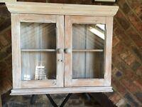 White wash pine cabinet 2 Glass doors .
